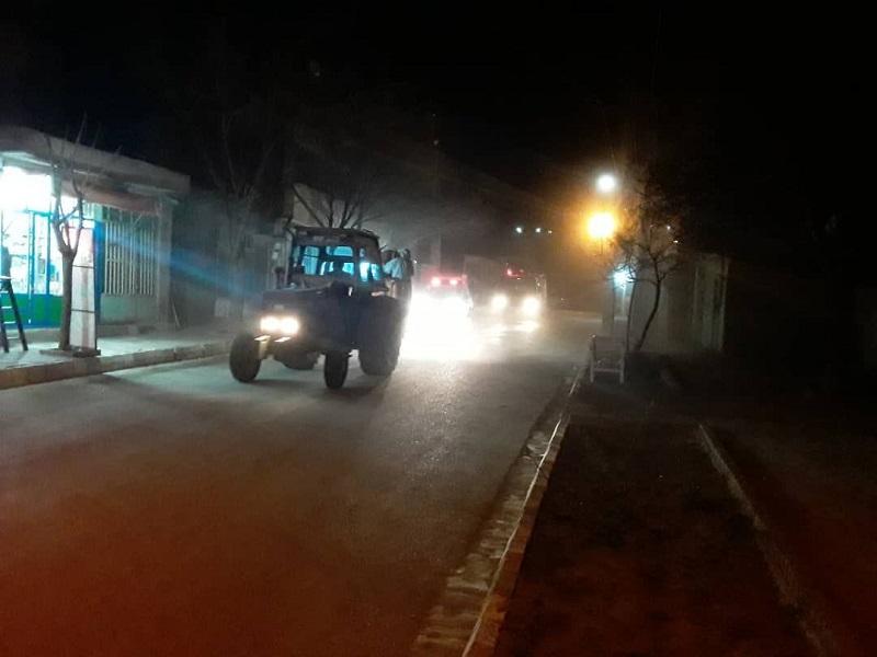 عملیات ضد عفونی معابر عمومی شهر مزداوند برای مقابله با ویروس کرونا